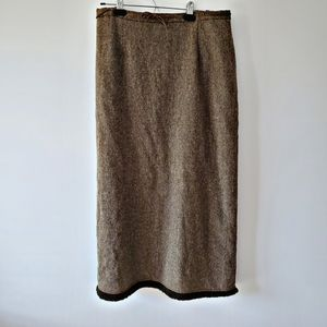 Brown Lambswool high waisted skirt with fringe